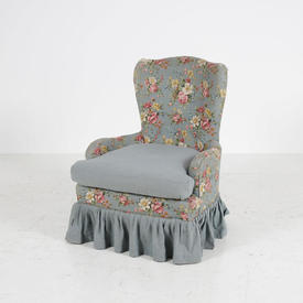 Blue Floral Nursing Skirted Chair