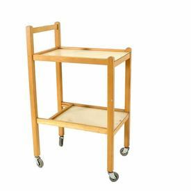 Oak Two Tier White Shelf Trolley
