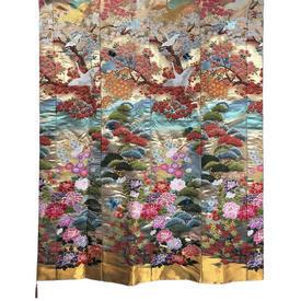 "Wall Hanging 5'9"" x 4'6"" Gold / Multi Japanese Cranes & Foliage Metallic Brocade"