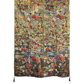 "Wall Hanging 6'4"" x 4'6"" Gold / Multi Japanese Cranes & Flowers Metallic Brocade"