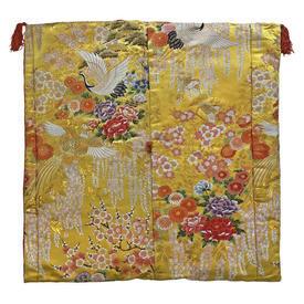 "Floor Cushion 26"" x 26"" Yellow / Multi Japanese Cranes & Chrysanthemums Metallic Brocade"