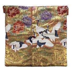 "Floor Cushion 26"" x 26"" Gold / Multi Japanese Cranes & Cherry Trees Metallic Brocade"