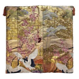"Floor Cushion 26"" x 26"" Gold / Multi Japanese Cherry Trees Metallic Brocade"