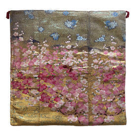 "Floor Cushion 26"" x 26"" Gold / Pink Japanese Cherry Blossom Metallic Brocade"