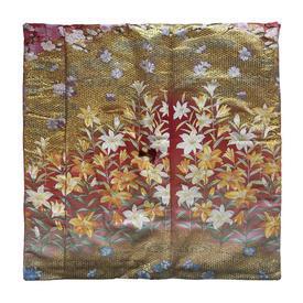 "Floor Cushion 26"" x 26"" Gold / Pink Japanese Floral Metallic Brocade"