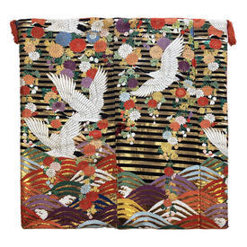 "Floor Cushion 26"" x 26"" Black / Multi Japanese Cranes & Stripe Metallic Brocade"