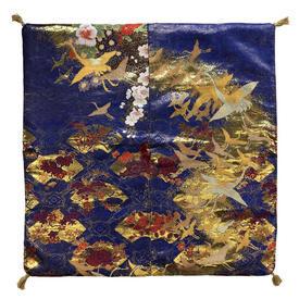 "Floor Cushion 26"" x 26"" Royal / Gilt Japanese Cranes & Fans Metallic Brocade"