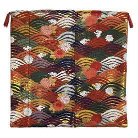 "Floor Cushion 26"" x 26"" Orange / Multi Japanese Floral Waves Metallic Brocade"