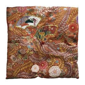 "Floor Cushion 28"" x 28"" Orange Japanese Floral & Fans Embroidered Brocade"
