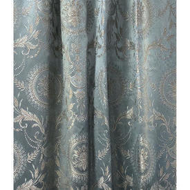 "Pair Drapes 6'6"" x 6' Airforce Floral Medallion Brocade"