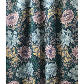 Pair Drapes 7' x 6' Teal Sanderson Chrysanthemum Floral