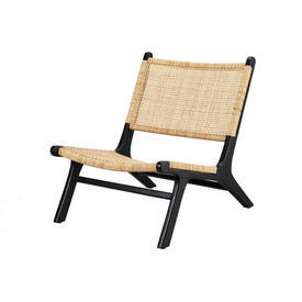 Black & Natural Raffia Lounge Chair