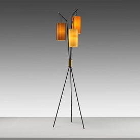 Vintage 50S Black & Brass Tripod Floor Lamp with 3 Assorted Coloured Rotaflex Cylinder Shades