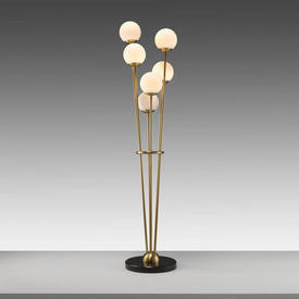 Antique Brass ''Tortora'' Floor Lamp with 6 White Orb Shades on Black Base