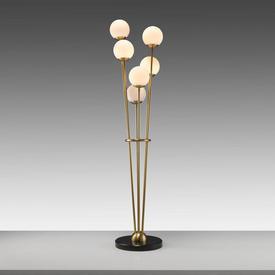 Antique Brass ''Tortora'' Floor Lamp with 6 White Orb Shades on Black Base