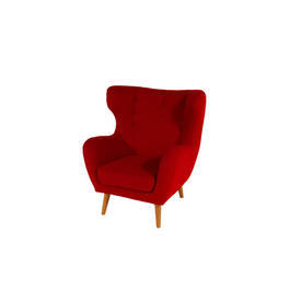 Red Fabric Buttoned Wingback Armchair with Light Oak Feet
