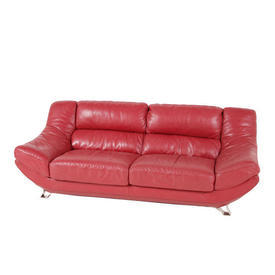 90'S Red Leather 3 Seater Sofa on Metal Legs