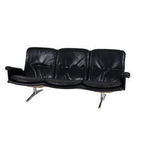 Werner Danish Black Leather Buttoned 3 Seater Sofa on Chrome Base