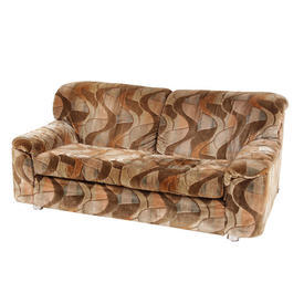 70'S Multi Shades Of Brown Wave Pattern 2 Seat Sofa