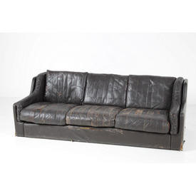 Distressed Brown Leather Patch Patt 3 Seat Crack Sofa