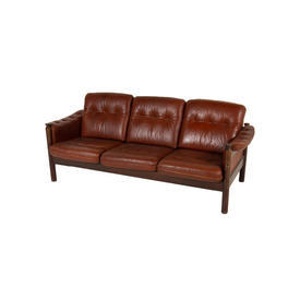 Buttoned Brown Leather, Rosewood Frame Danish 3 Seat Sofa