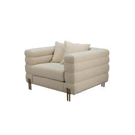 Cream Boucle Deco Style ''York'' Armchair on  Gold Rod Feet