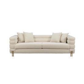 Cream Boucle Deco Style ''York'' Sofa on Gold Rod Feet