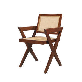 Small Brown Natural Wood & Rattan ''Augustin'' Chair