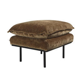 Aged Gold Cord Velvet Retro Footstool on Black Legs