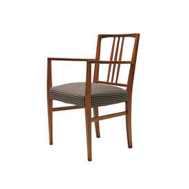 Rosewood Spindle Back Carver Chair with Brown Houndstooth Seat