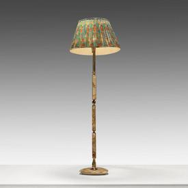 Brown onyx & Brass Coloumn Floor Lamp on Triangular Base