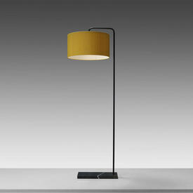 Black 'Marbelle' Floor Lamp on Rect Marble Base with Yellow Silk Drum Shade