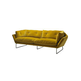 Mustard Velvet 2 Piece ''Ny'' Sofa on Black Nickel Glides