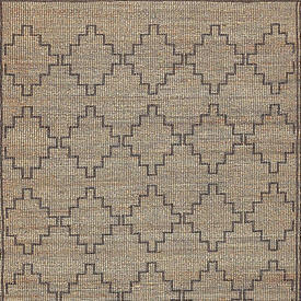 Natural & Black Diamond Pattern Jute Rug