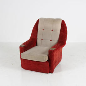Red/White Fabric Button Back 50'S Wood Hand Rest Armchair