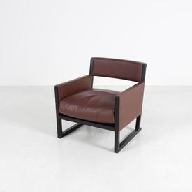 Wenge Frame Chocolate Leather Maxalto Low Armchair