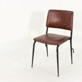 Brown Vinyl/ Black Leg Occ Stacking  Chair