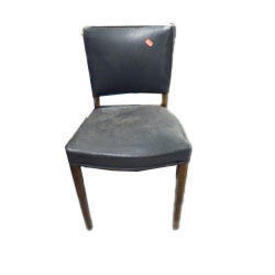 Dark Grey Vinyl Wooden Leg Occasional/Elbow Chair