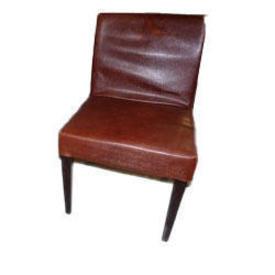 Brown Vinyl 'Templar' Occasional Chair Black Legs