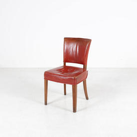 Red Leather Seat & Back Occasional Court Chair