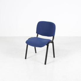Blue Fabric/Black Frame Occasional Stacking Chair