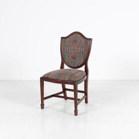 Mahogany & Tapestry Fabric Occasionsal Shield Back Dining Chair