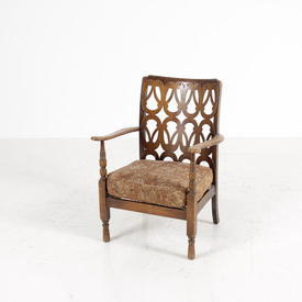 30'S Figured Back Brown Floral Seat A/Chair