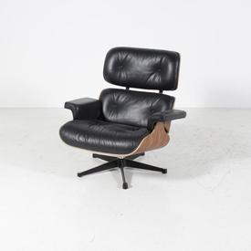 Blk Leather & Rosewood 'Martin' Eames inspired Lounge Chair