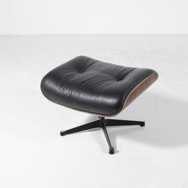Blk Leather & Rosewood 'Martin' Eames inspired Foot Stool