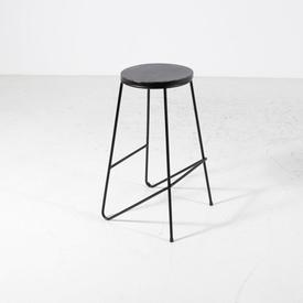Circular Black Ash Top with Black Wire Metal Frame Bar Stool