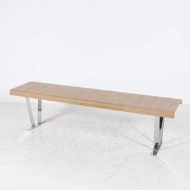 Large Rect. Light Oak & Chrome 'Luis' Bench