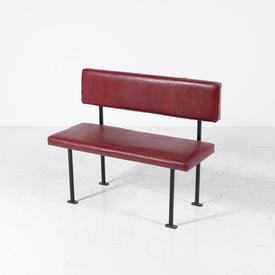 Red 60'S Black Leg Bench 100Cm