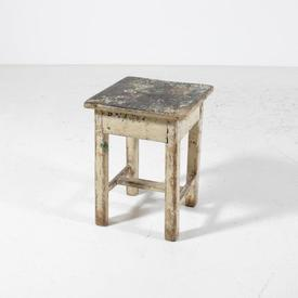 Tatty Wooden Painted Low Stool [No Drawer]