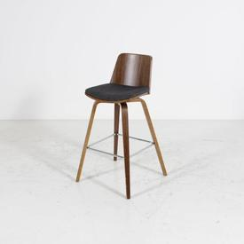 Walnut Frame And Back Grey Padded Seat High Stool